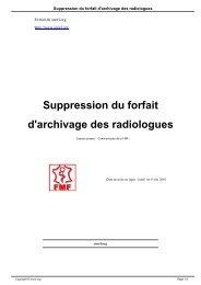 Suppression du forfait d'archivage des radiologues - SNORL
