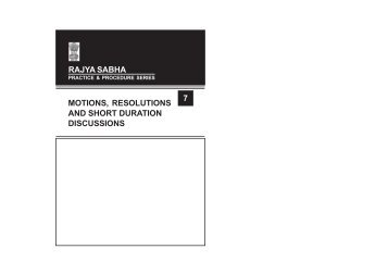 practice & procedure series - Rajya Sabha