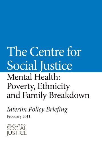 Mental Health: Poverty, Ethnicity and Family Breakdown - Centre for ...