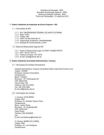 Termo de Participação do SiSU - 2º edição de 2010 [PDF *]