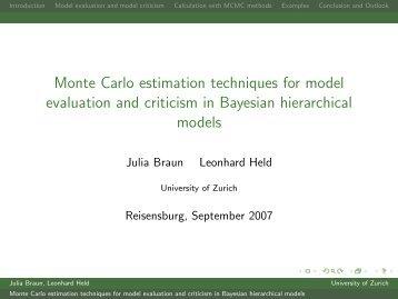 Monte Carlo estimation techniques for model evaluation and ...