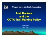 Trail Markers and the OCTA Trail Marking Policy g y g y