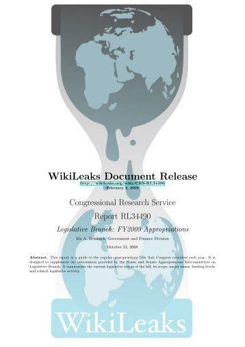 Legislative Branch - WikiLeaks CRS reports