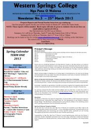 Newsletter No.3 - Western Springs College
