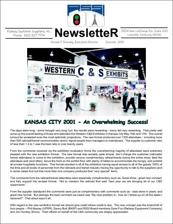 NewsletteR KANSAS CITY 2001 - Railway Systems Suppliers, Inc.