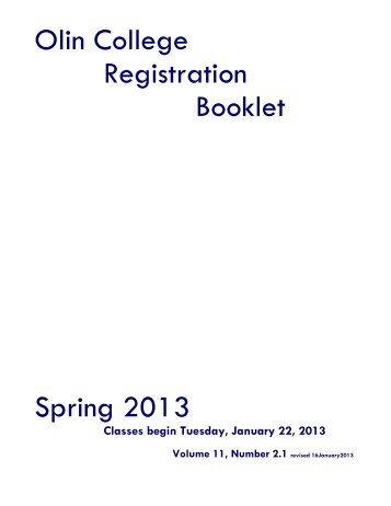 Spring 2013 Registration Booklet - StAR - Olin College
