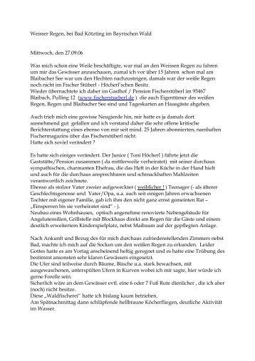 noch ein Bericht von Herrn Golomb - Gasthof Pension Fischerstüberl