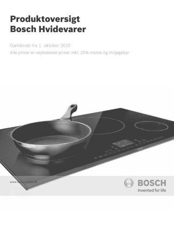 Produktoversigt Hvidevarer Bosch