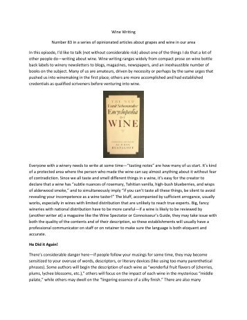 Wine Writing Number 83 in a series of ... - Oakstone Winery