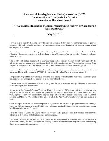 Prepared Statement - Ranking Member Jackson Lee - Committee on ...