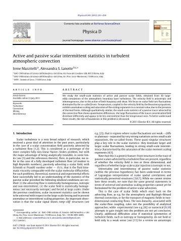 Active and passive scalar intermittent statistics in turbulent ... - Cnr