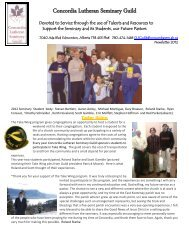 Fall 2012 Newsletter - Concordia Lutheran Seminary