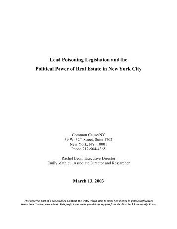 Lead Poisoning Legislation and the Political Power of Real ... - NMIC