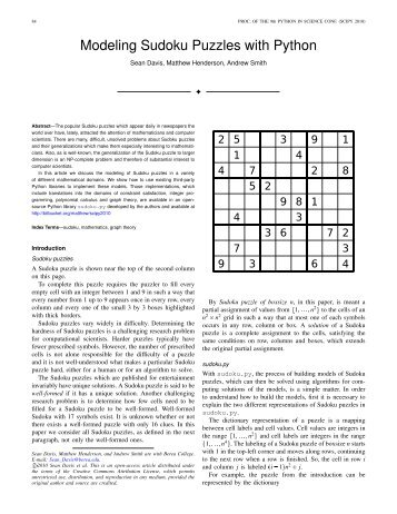 Modeling Sudoku Puzzles with Python