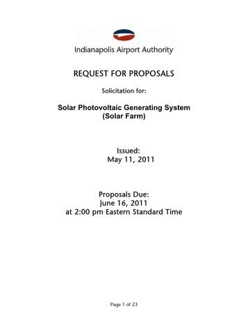 REQUEST FOR PROPOSALS - Indianapolis International Airport