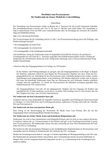 Merkblatt zum Praxissemester für Studierende im Jenaer Modell der ...