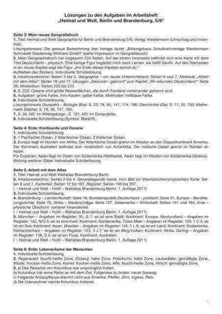 """Lösungen zu den Aufgaben im Arbeitsheft """"Heimat und Welt ..."""