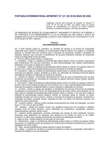 portaria interministerial mp/mf/mct nº 127, de 29 de maio de 2008