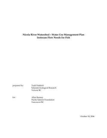 Water Use Management Plan Instream Flow Needs for Fish - Nicola ...