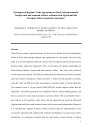 The impact of Regional Trade Agreements on North African ...