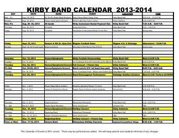 KIRBY BAND CALENDAR 2013-2014