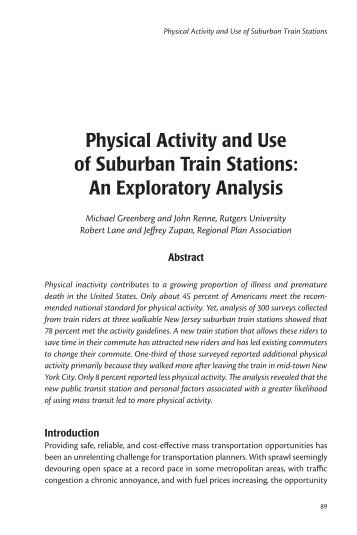 Physical Activity and Use of Suburban Train Stations: An ... - CiteSeerX