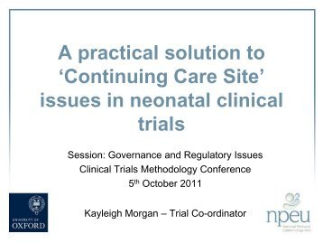Continuing Care Sites - MRC Network of Hubs for Trials ...