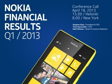 NOKIA FINANCIAL RESULTS Q1 / 2013 - Results.nokia.com