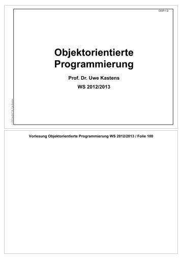 Objektorientierte Programmierung - Fachgebiet ...