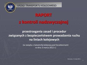 RAPORT z kontroli nadzwyczajnej - Urząd Transportu Kolejowego