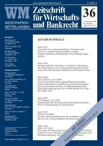 60 Jahre - WM Wirtschafts- und Bankrecht