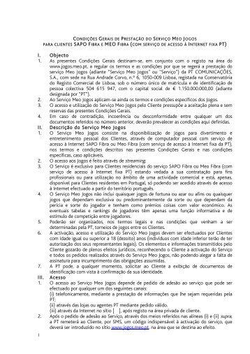 DJR 2011 05 04 condições de prestação do serviço Meo Jogos - Sapo