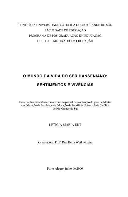 o mundo da vida do ser hanseniano - Instituto Lauro de Souza Lima