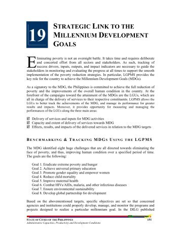 19 strategic link to the millennium development goals - LGRC DILG 10
