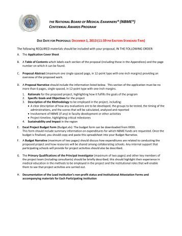 Proposal Preparation Checklist - National Board of Medical Examiners