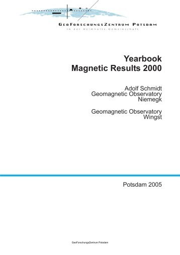 Yearbook : Geomagnetic Results Niemegk