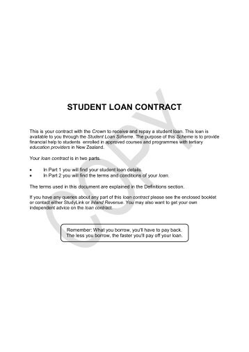 student loan contract - StudyLink