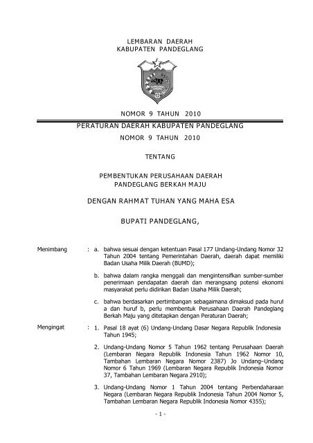Peraturan Daerah Kabupaten Pandeglang Dengan Rahmat Tuhan