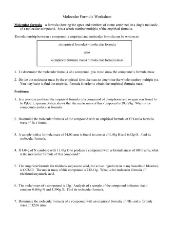 Empirical And Molecular Formula Worksheet Free Worksheets Library  Download and Print