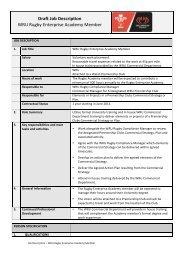 Draft Job Description WRU Rugby Enterprise Academy Member