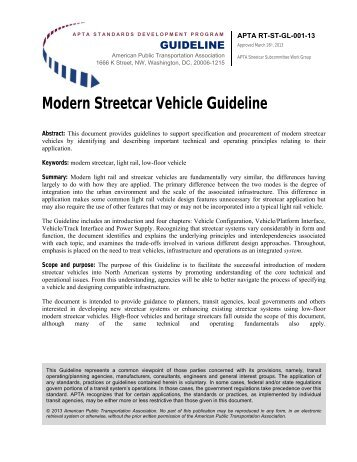 Modern Streetcar Vehicle Guideline