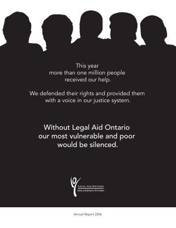 2005/2006 Annual Report - Legal Aid Ontario