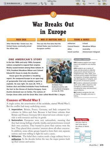 War Breaks Out in Europe - Teacher