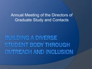 Annual Meeting of the Directors of Graduate Study and Contacts
