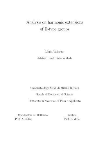 Analysis on harmonic extensions of H-type groups - Matematica e ...