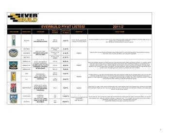 everbuild fiyat listesi 2011/2 - Dila Yapı Malzemeleri