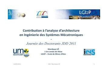 Journée des Doctorants JDD 2011 - LGI2P