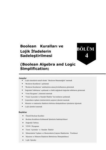 Boolean Kuralları ve Lojik İfadelerin Sadeleştirilmesi