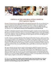 2013 Critical Access and Small Rural Hospital Arizona Legislative ...