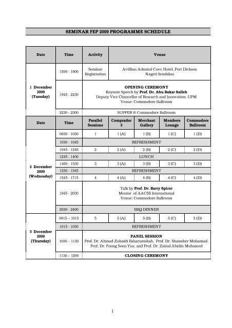 Programme Schedule Upm Fakulti Ekonomi Dan Pengurusan